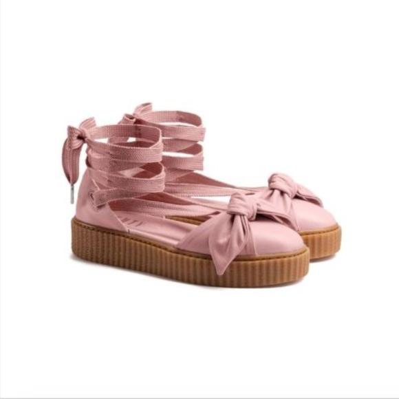 5ca56c838874f2 Fenty Puma Rihanna Leather Bow Creeper Pink Sz 9.5